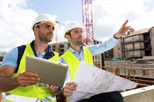 View of a Worker and architect watching some details on a construction; Shutterstock ID 284938166